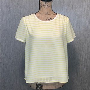 C. Luce Lined Striped Short Sleeve Top Size S